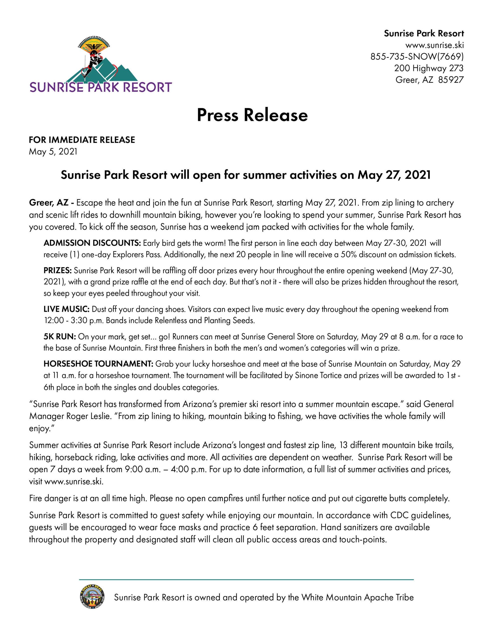 Summer 2021 Opening Press Release